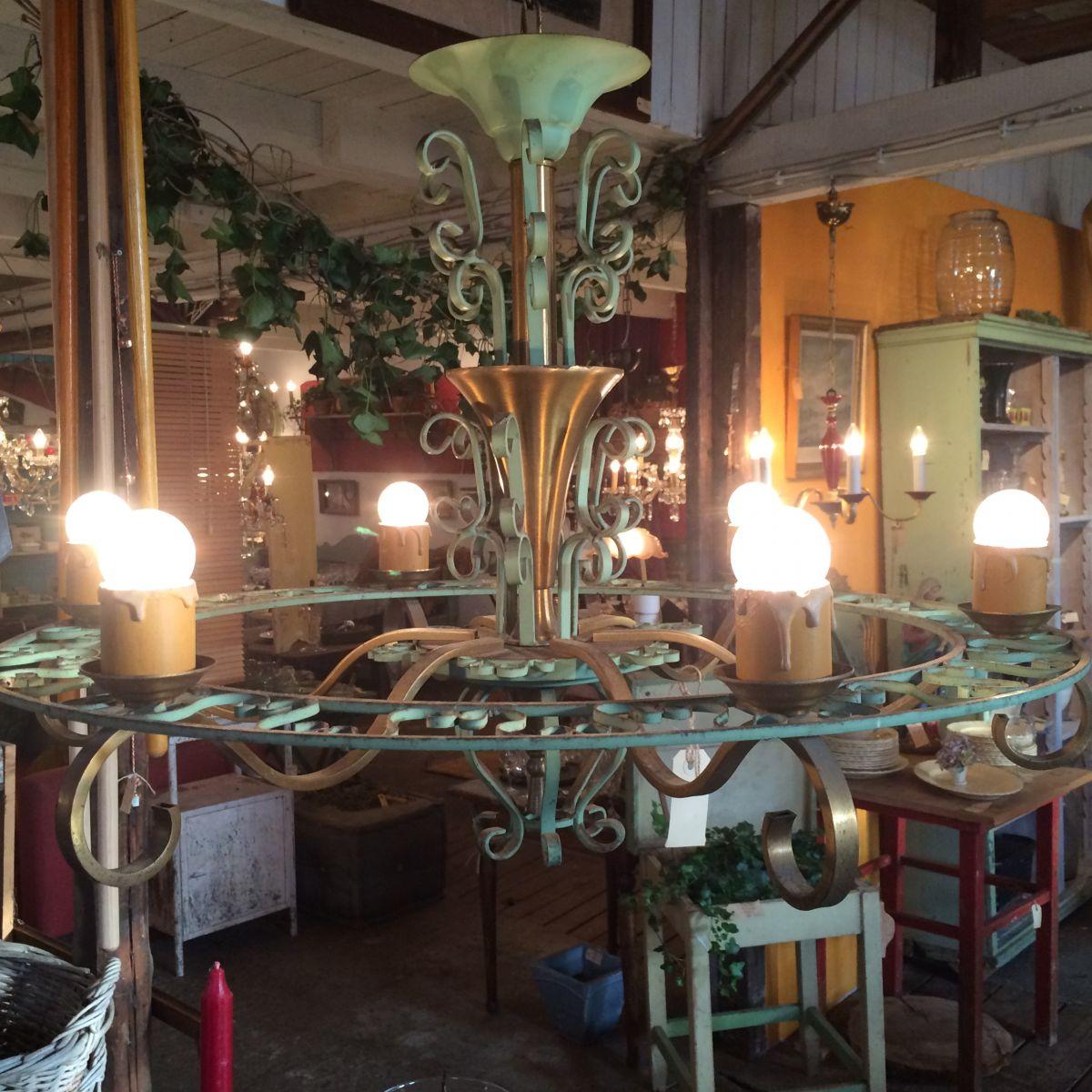koperen drie armige wandlamp